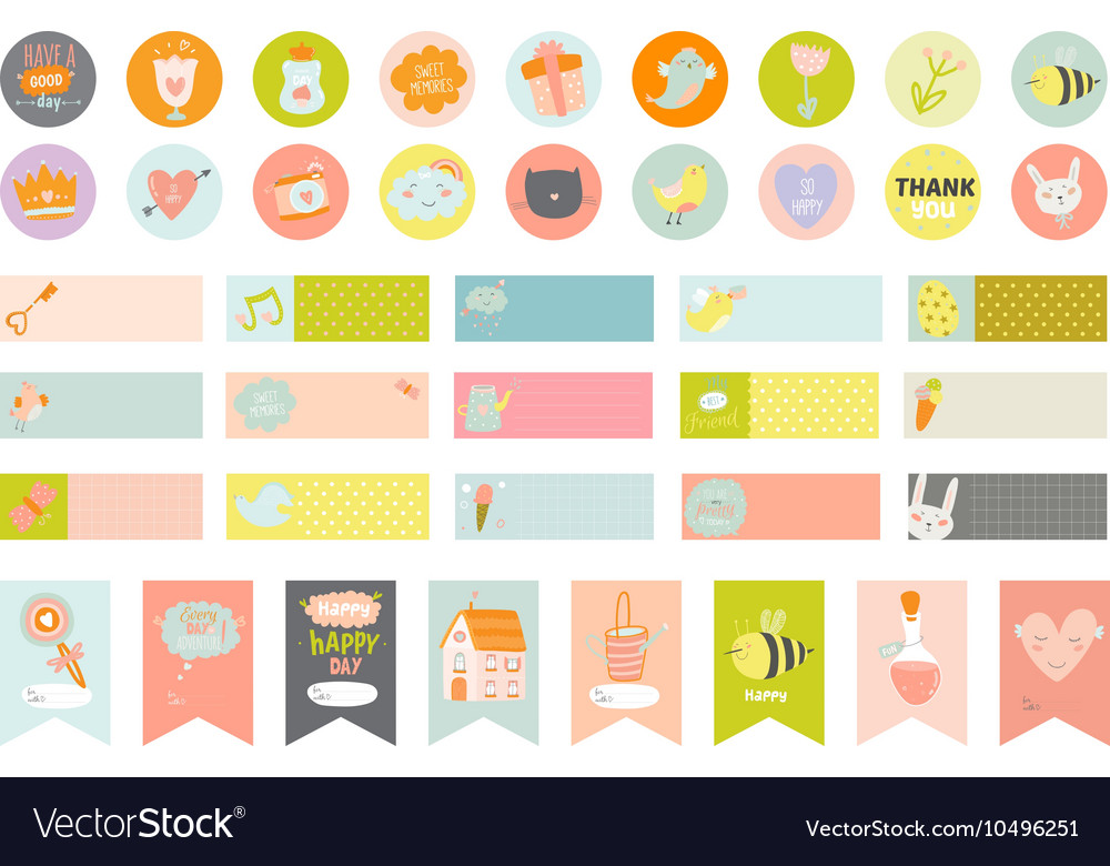 Easter greeting cards gift tags stickers vector