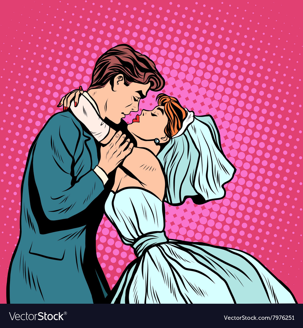 Pair of bride and groom first kiss vector