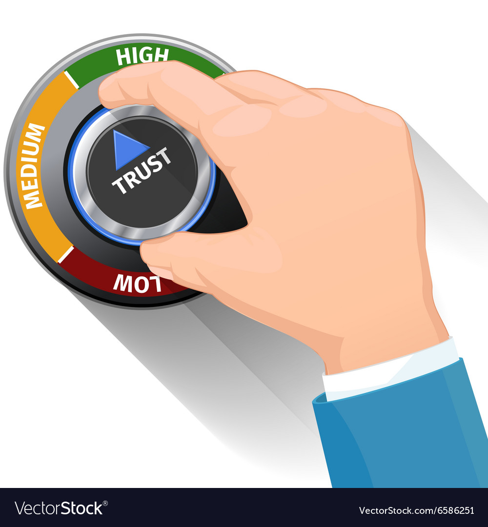 Trust knob button or switch high confidence level vector