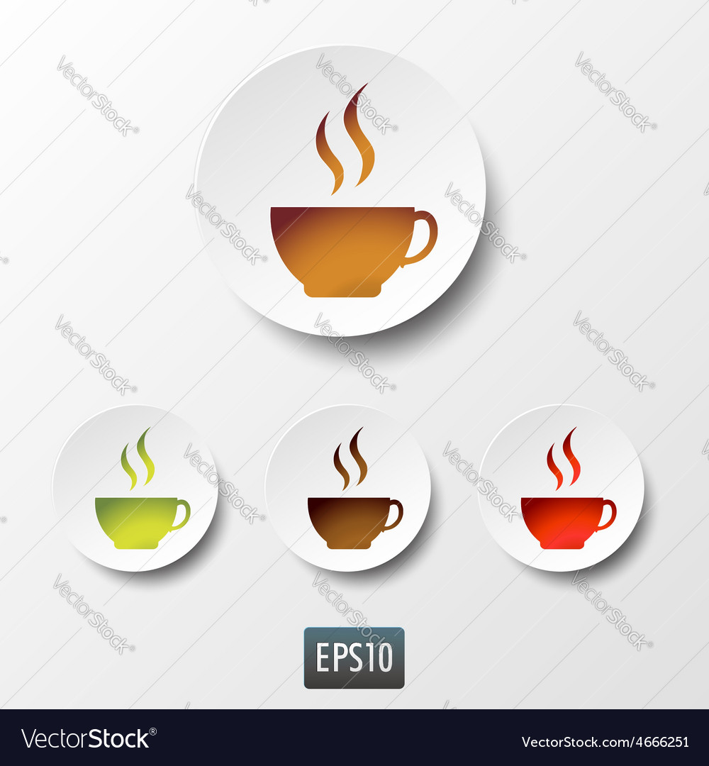 White paper coffee and tea cup icon set vector