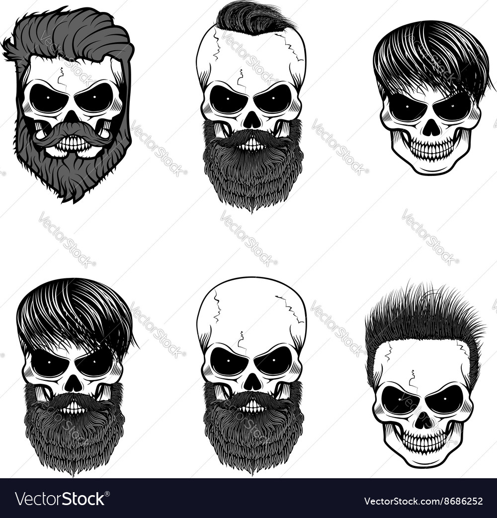 Set of bearded skulls skulls with beard and hair vector