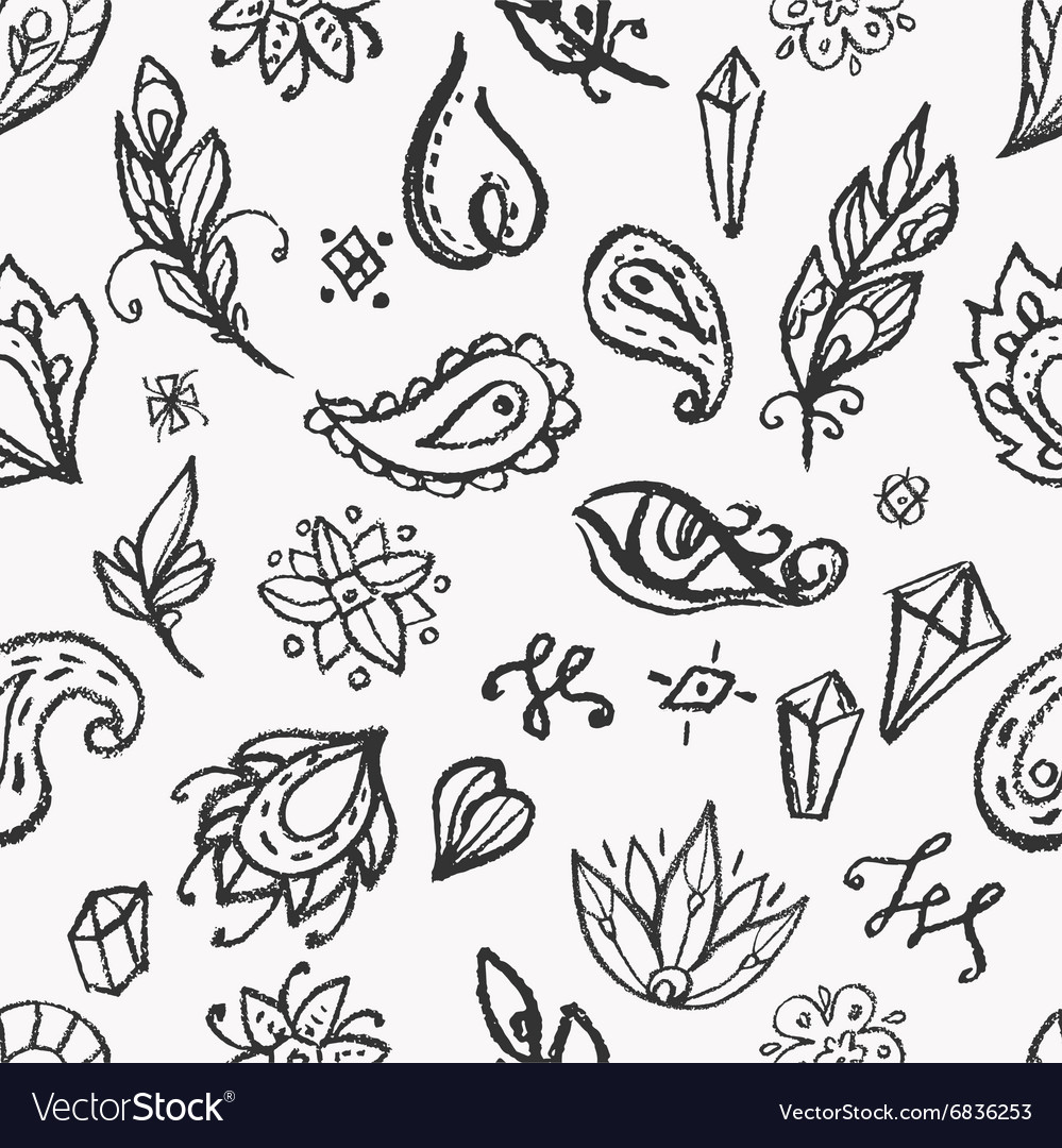 Boho style elements seamless pattern vector