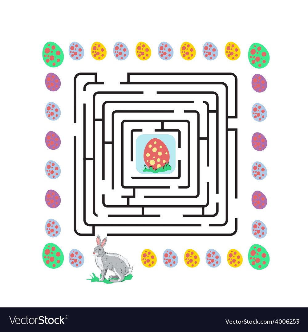 Easter maze with rabbit vector