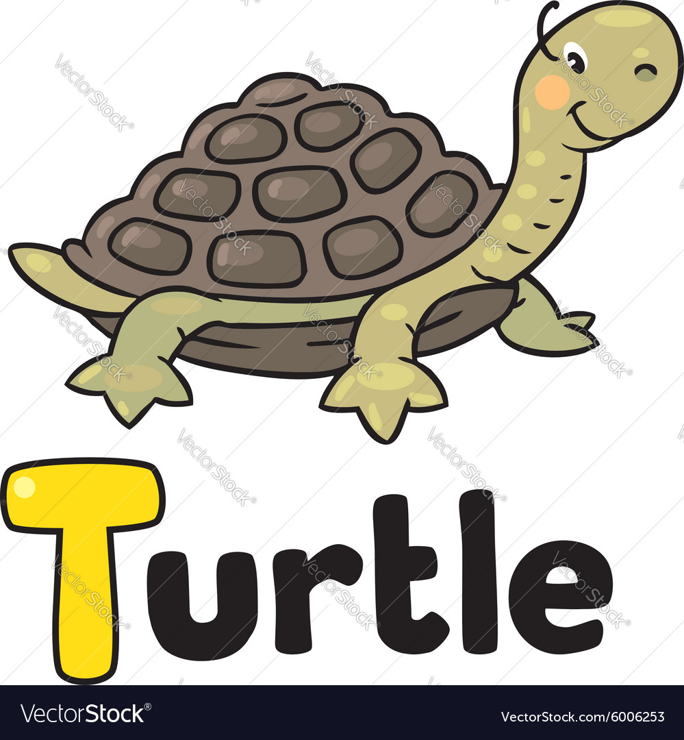 Little funny turtle for abc alphabet t vector
