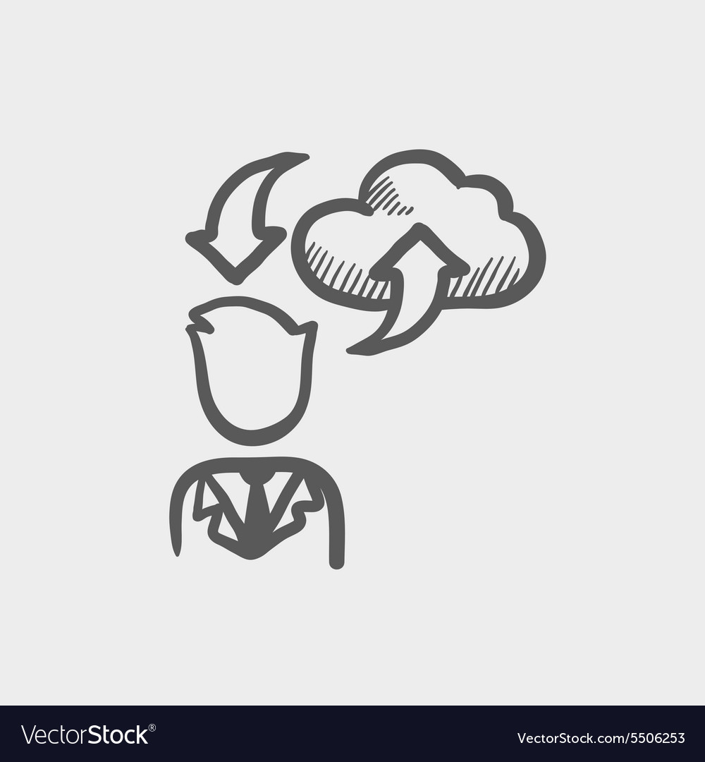Man with cloud uploading and downloading arrows vector