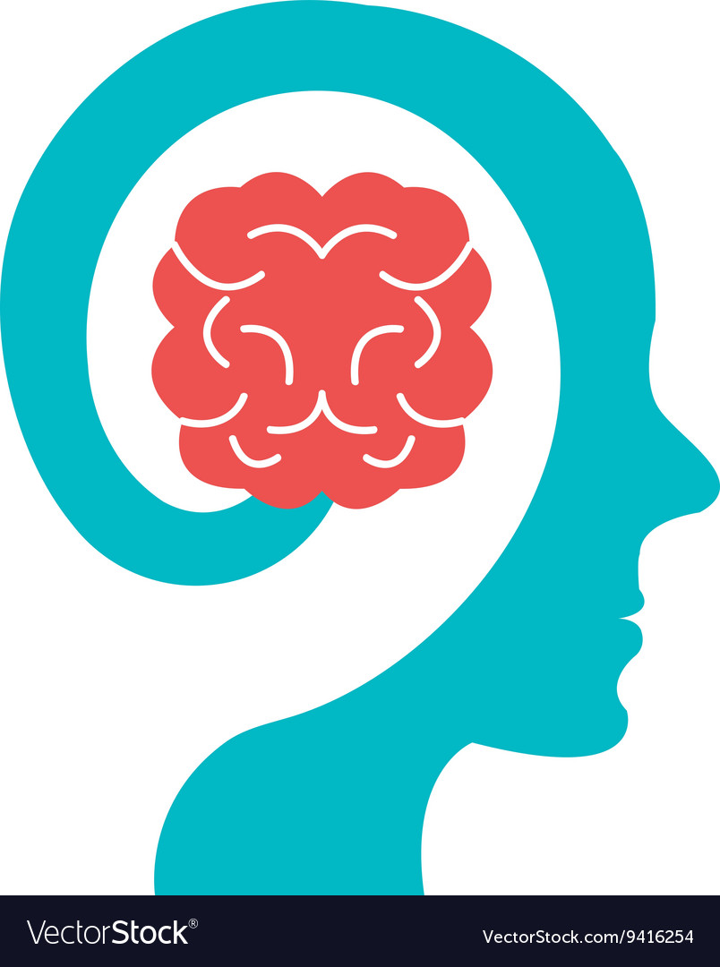 Colorful human head with brain icon graphic vector