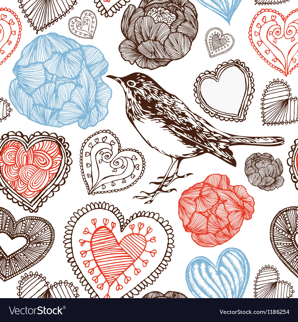 Hearts and bird vector