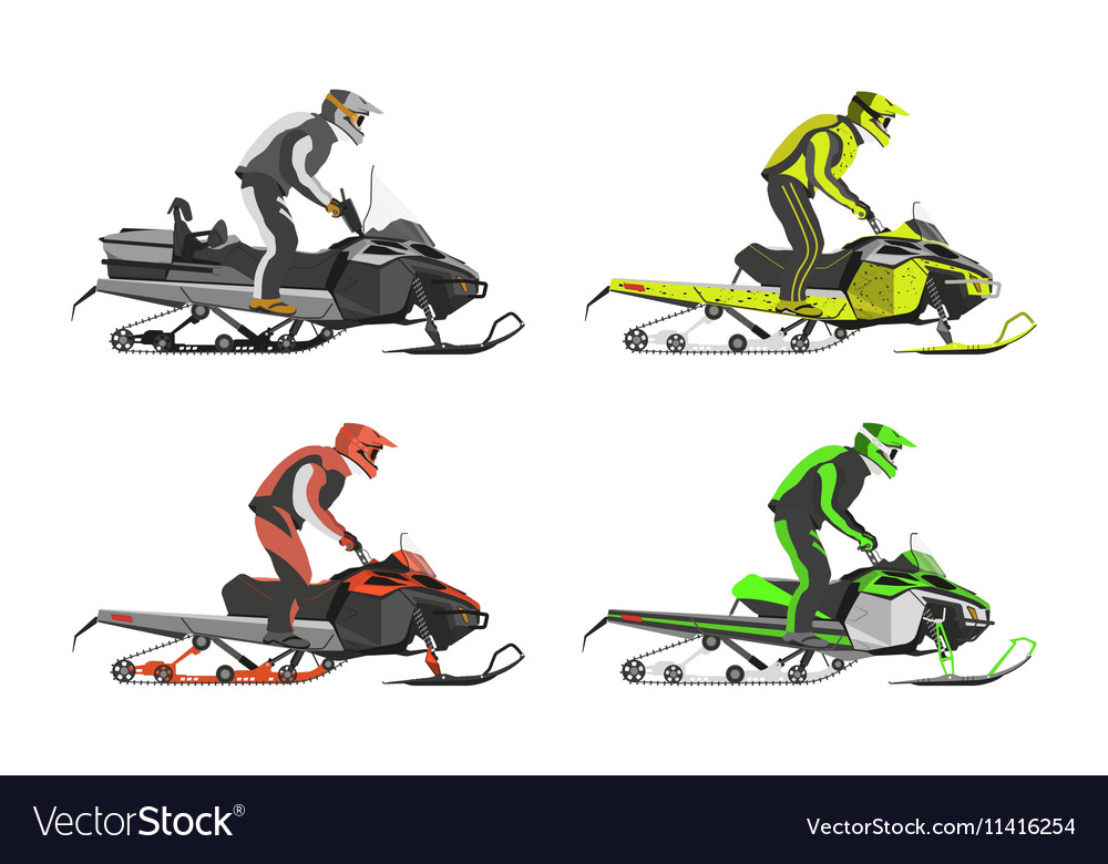 Set of snowmobiles transport for extreme vector