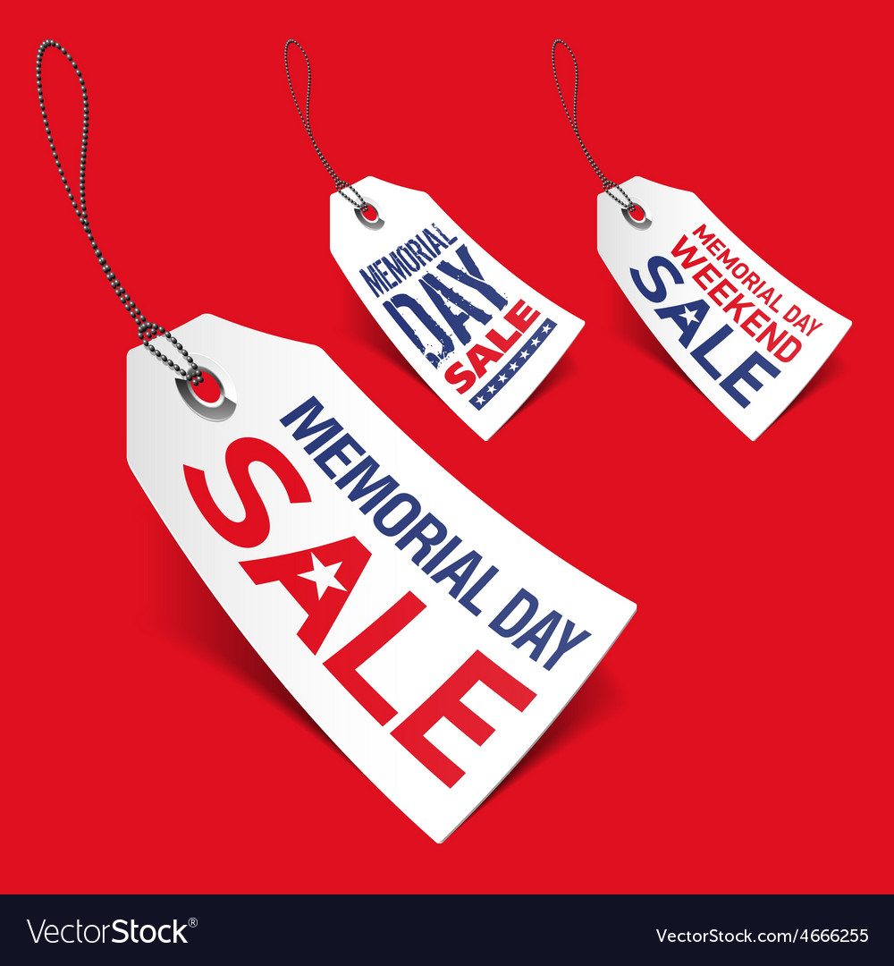 Memorial day sale tags vector
