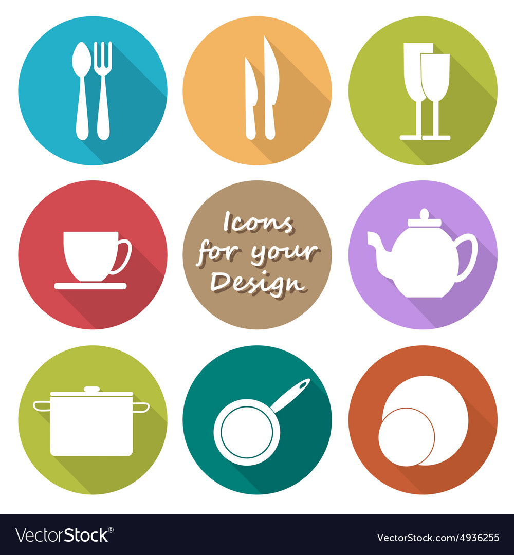 Round icons set of kitchen utensil in color vector