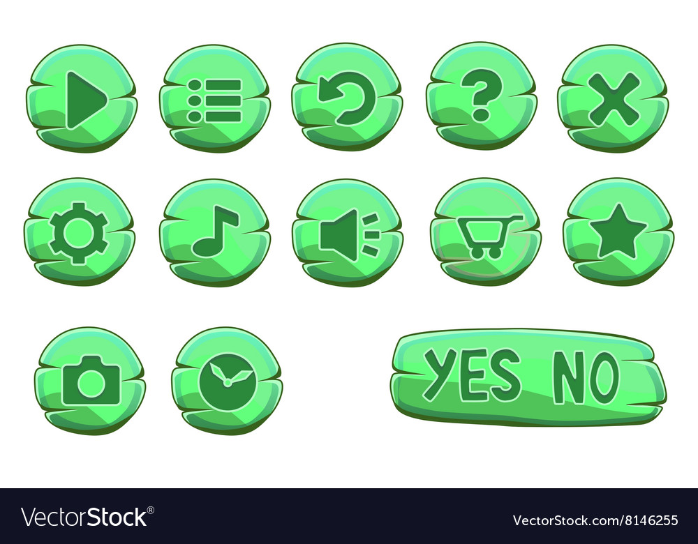 Set of stone round green game icons vector