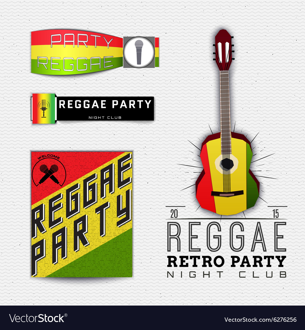 Reggae party insignia and labels for any use vector