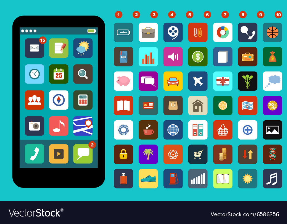 Smartphone with colorful application icons vector