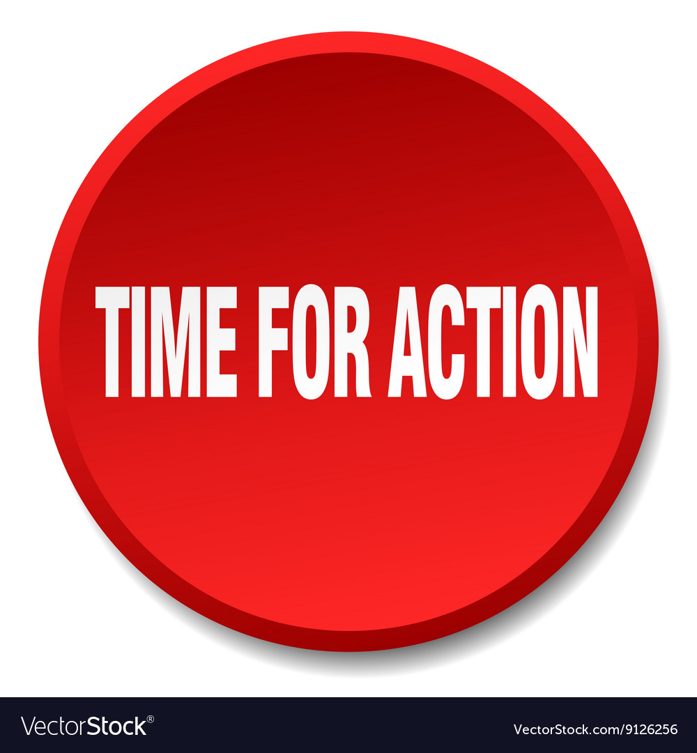 Time for action red round flat isolated push vector