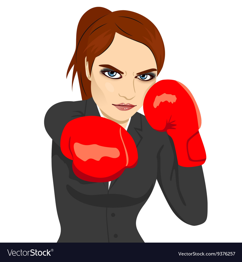 Angry business woman boxing punching vector