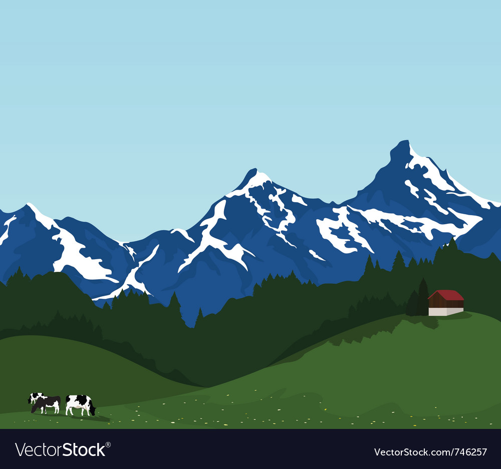 Beautiful mountain landscape vector