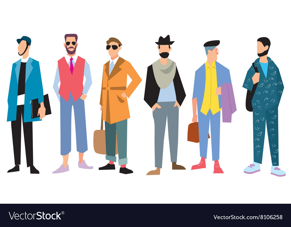 Beautiful young mens in fashion clothing vector