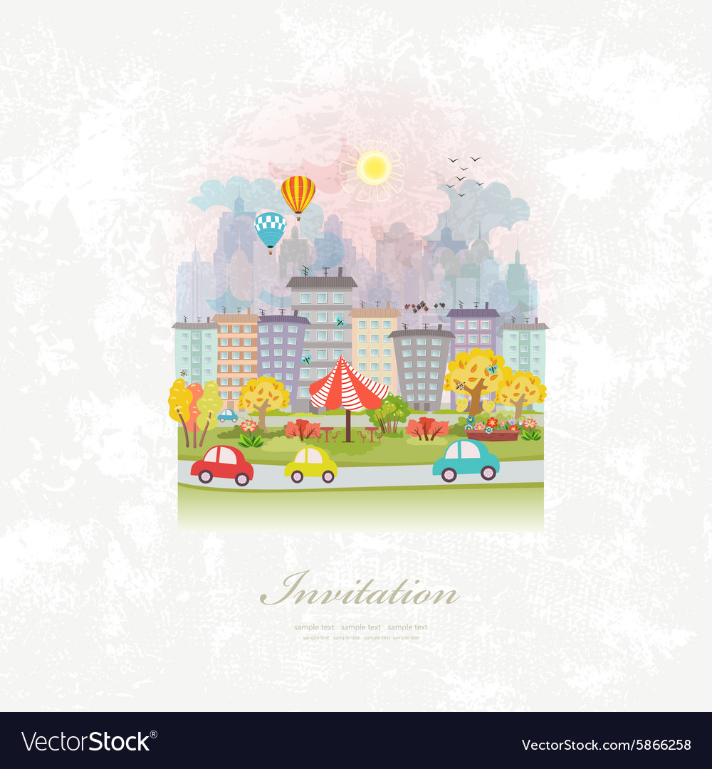 Vintage invitation card with cute autumn cityscape vector