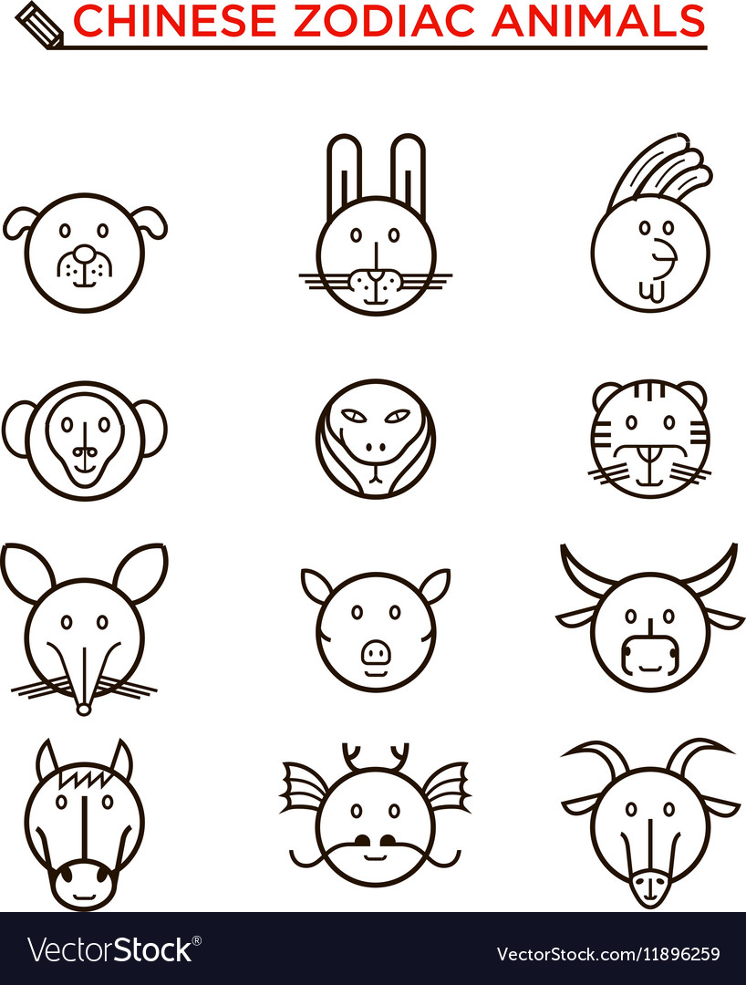 Black line chinese zodiac animal icons vector
