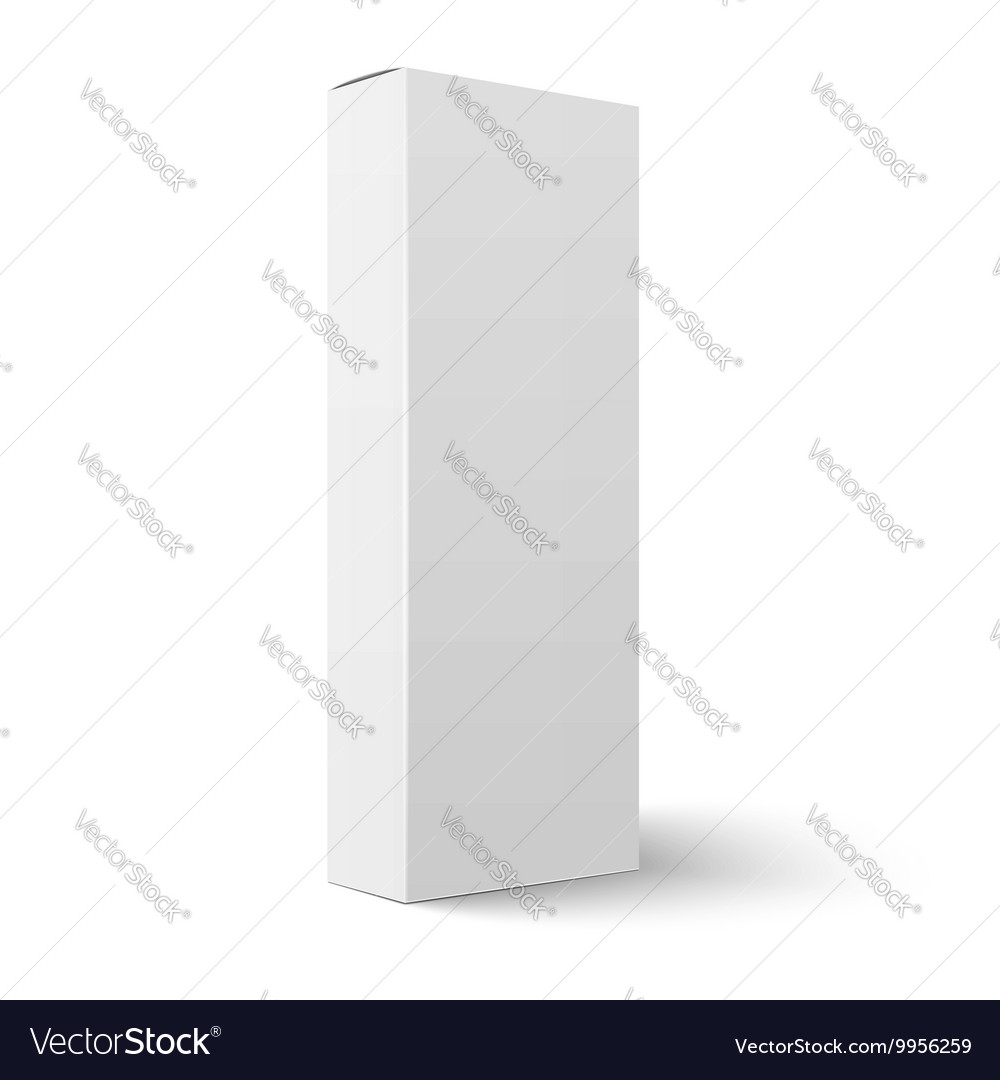 Long vertical blank cardboard box template vector