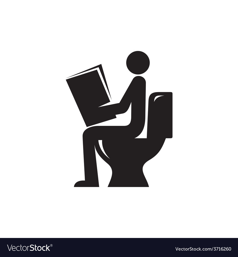 Reading newspaper in toilet icon vector