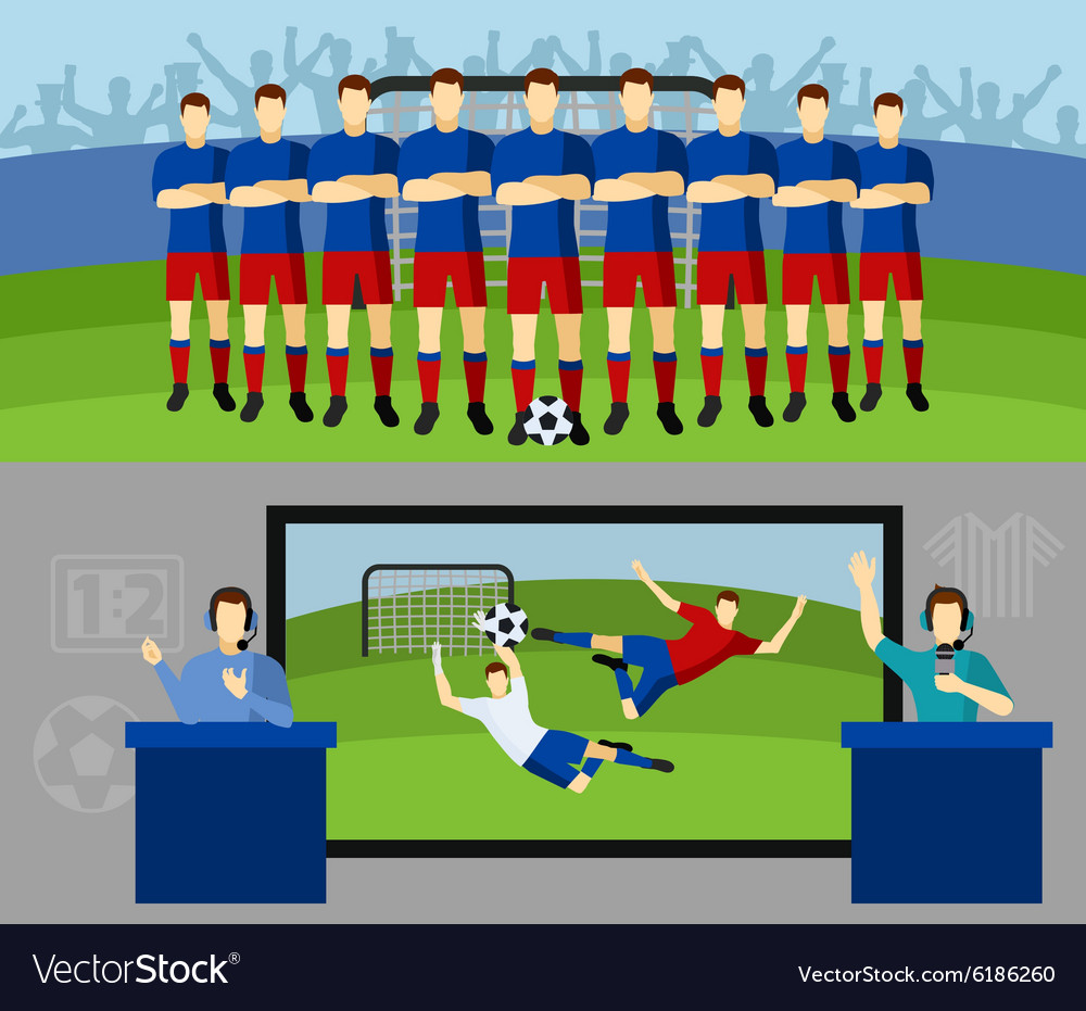 Soccer team 2 flat banners set vector