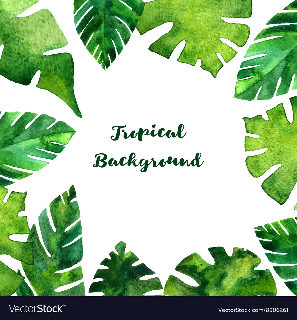Background with watercolor green leaves vector