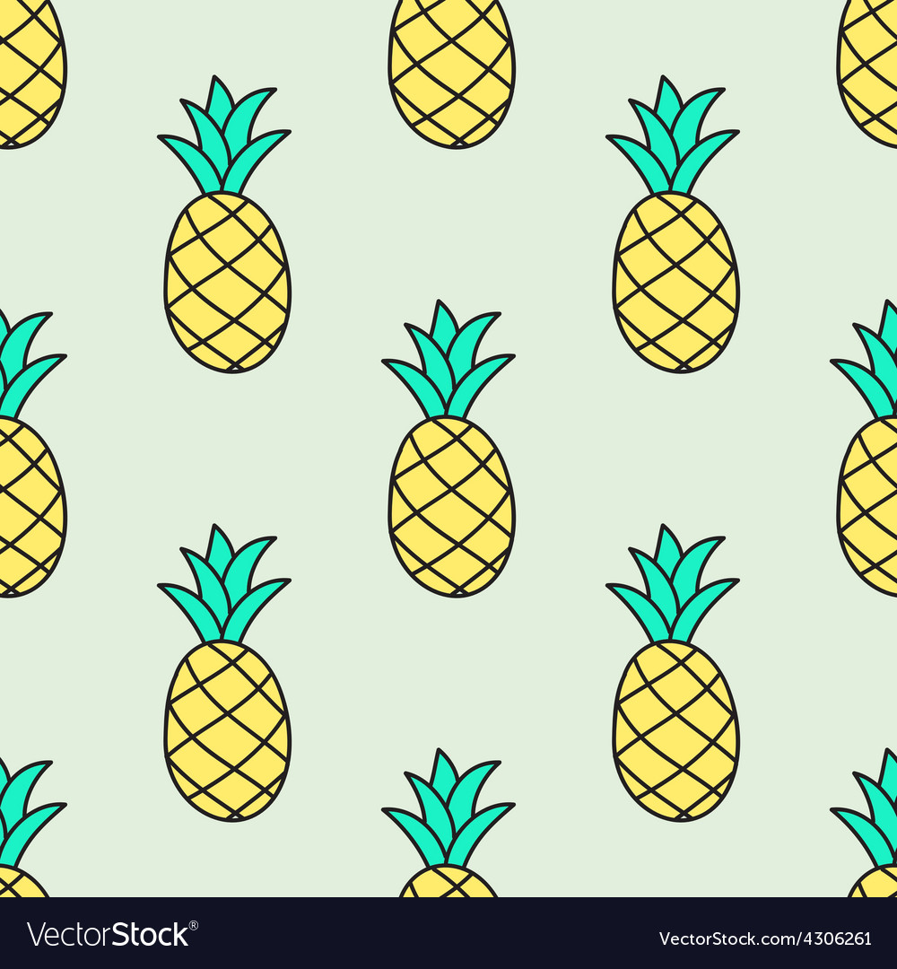 Seamless handdrawn pattern with pineapple vector