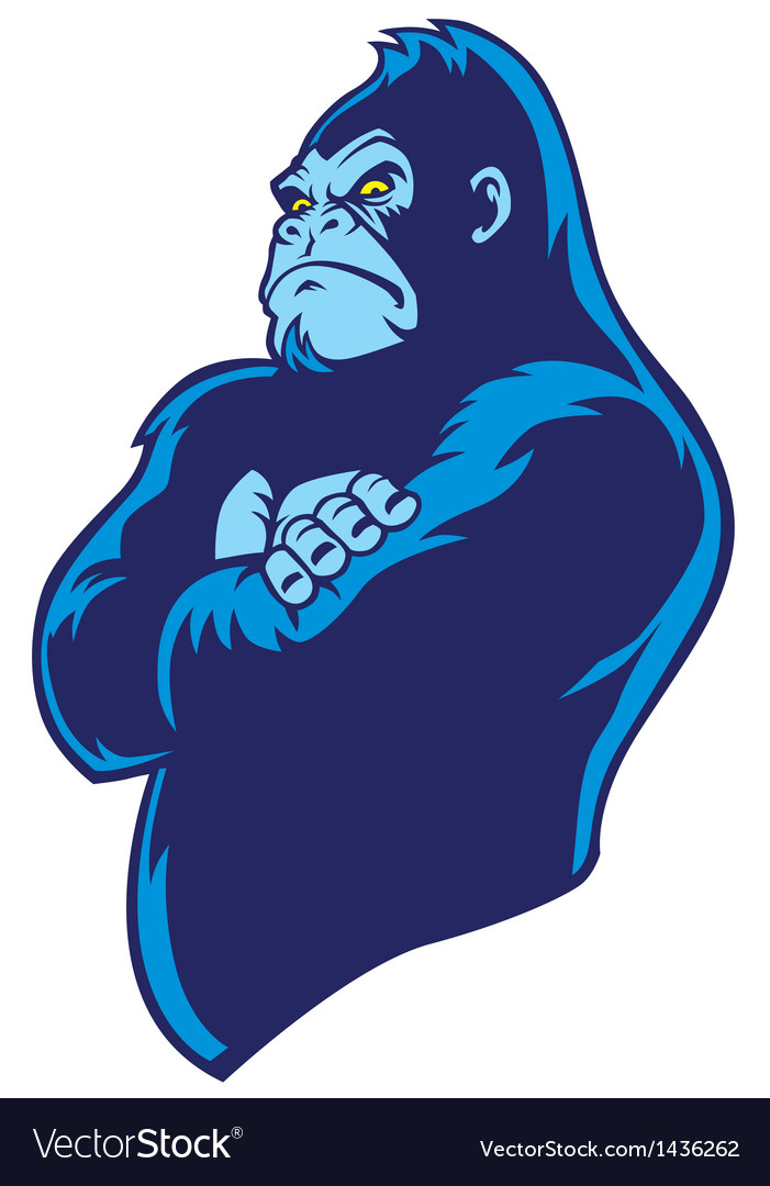 Crossed arm gorilla vector