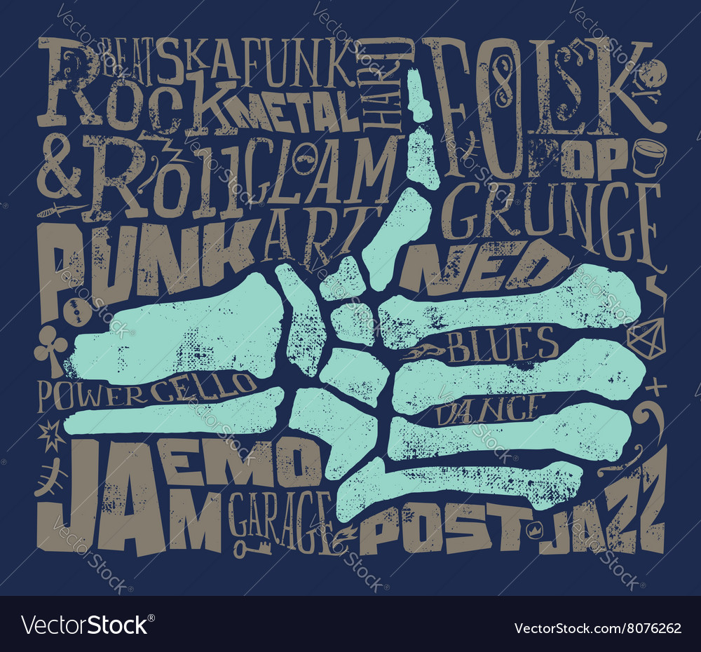 Print for tshirt rock music grunge vector