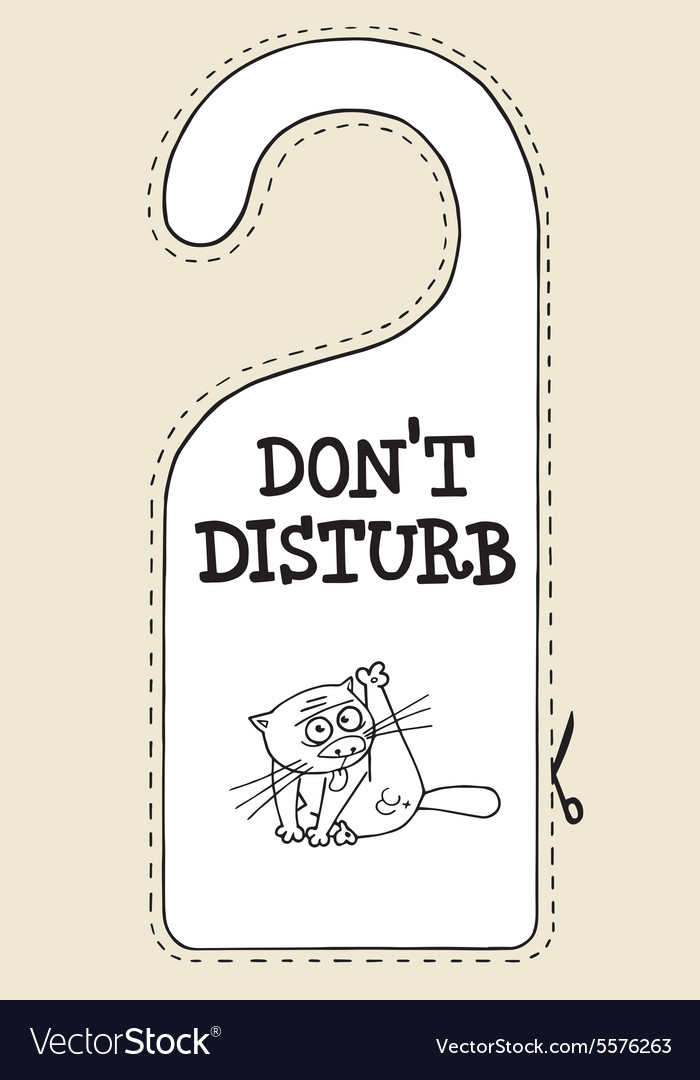 Hotel sign cat do not disturb vector