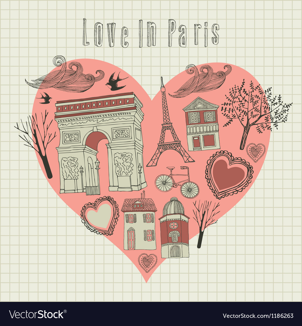 Love in paris vector