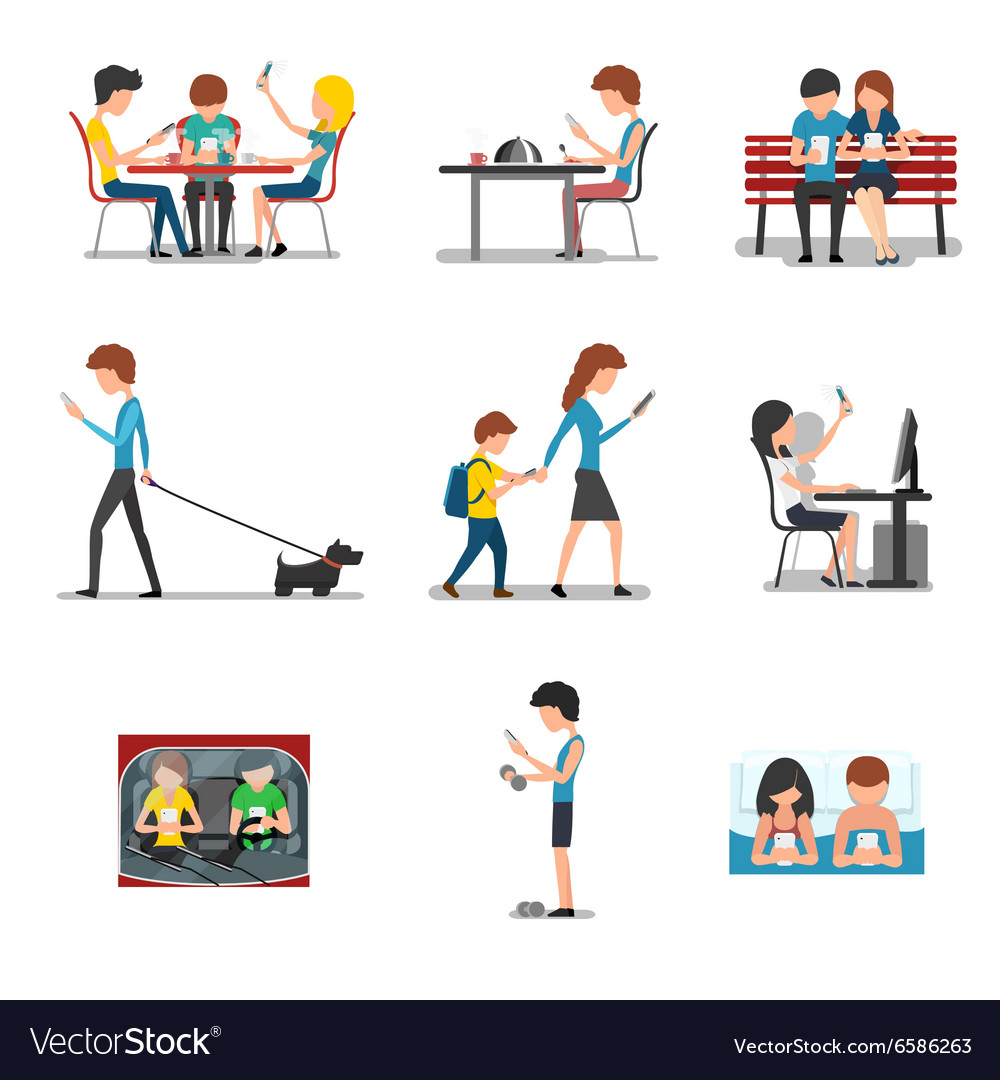 People in different action use smartphone vector