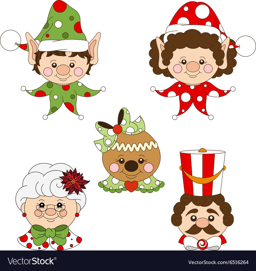 Festive holiday characters set vector