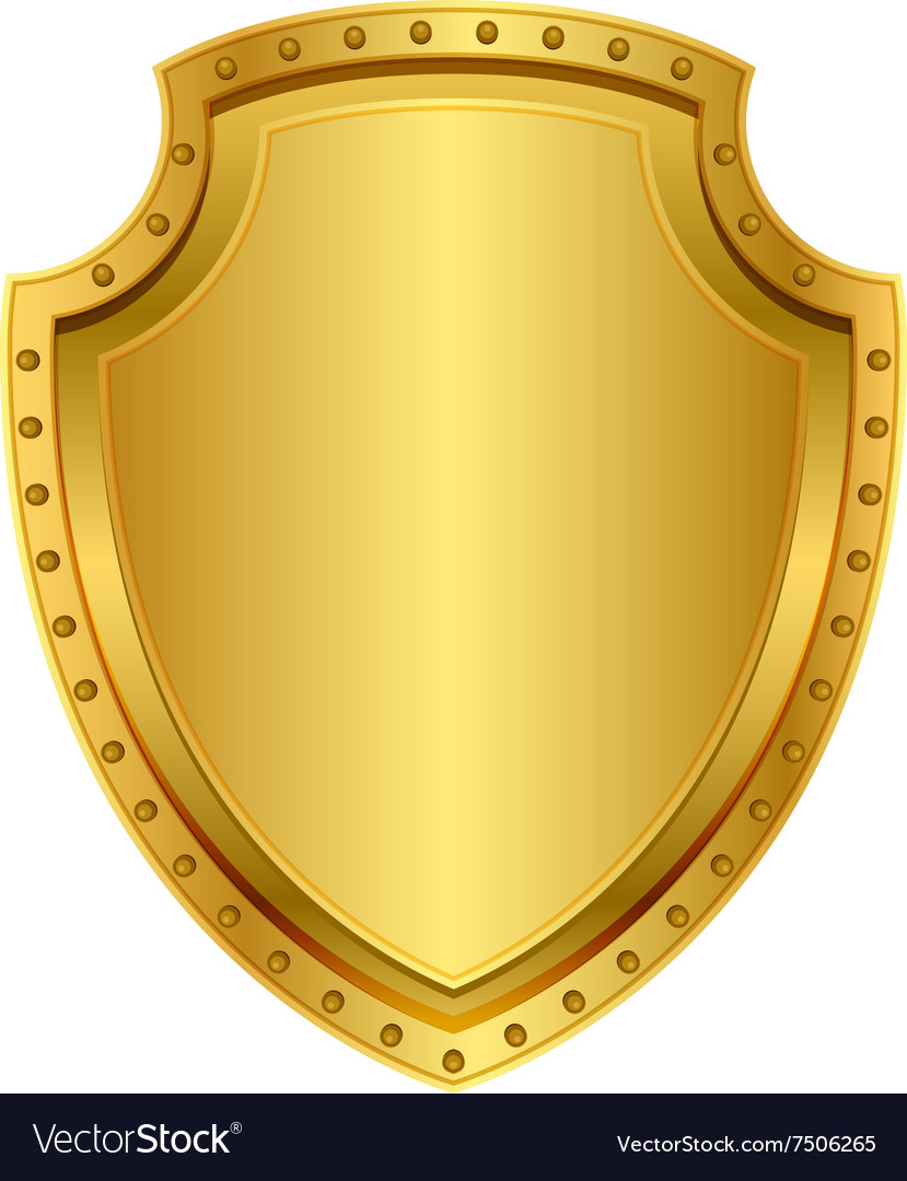 Empty gold shield blank metal badge with rivets vector