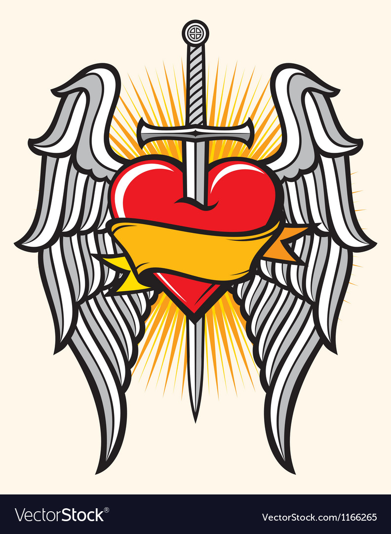 Heart with sword and wings vector