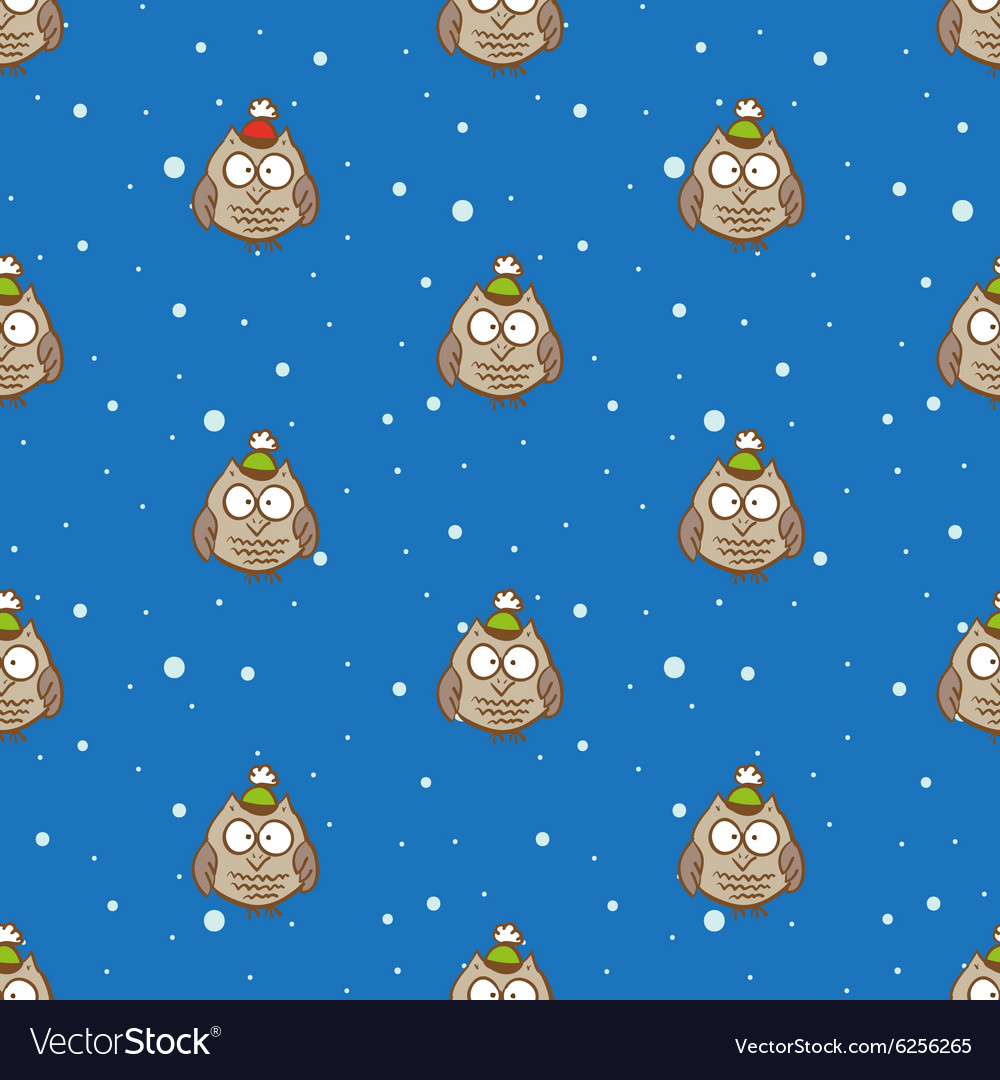 Owls in hats pattern christmas and new vector