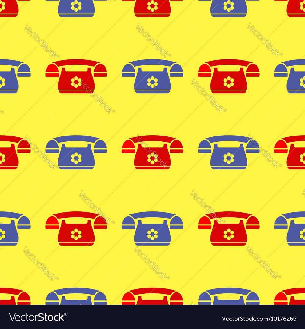 Seamless retro red blue phone pattern vector