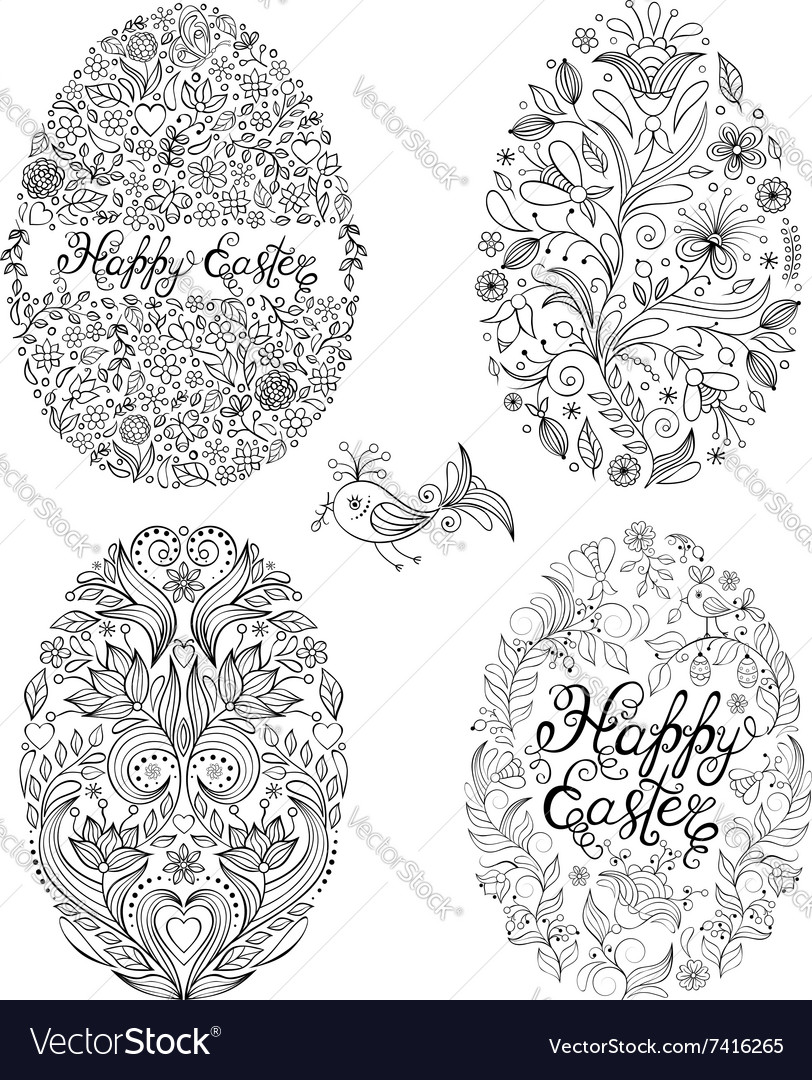 Set of floral easter eggs vector