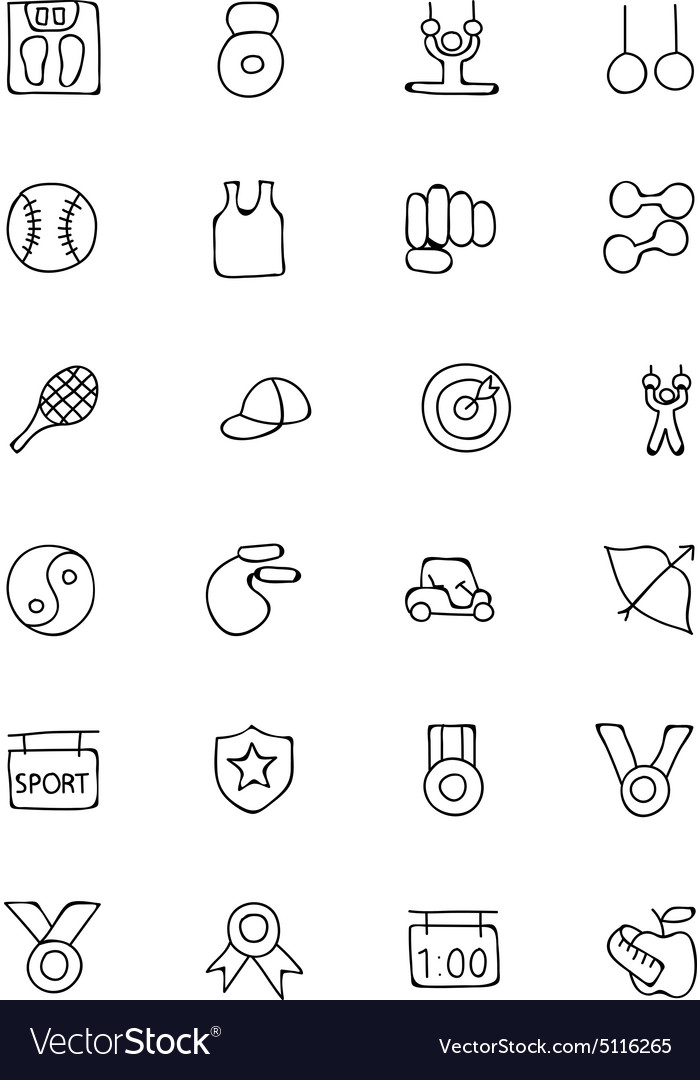 Sports hand drawn doodle icons 5 vector