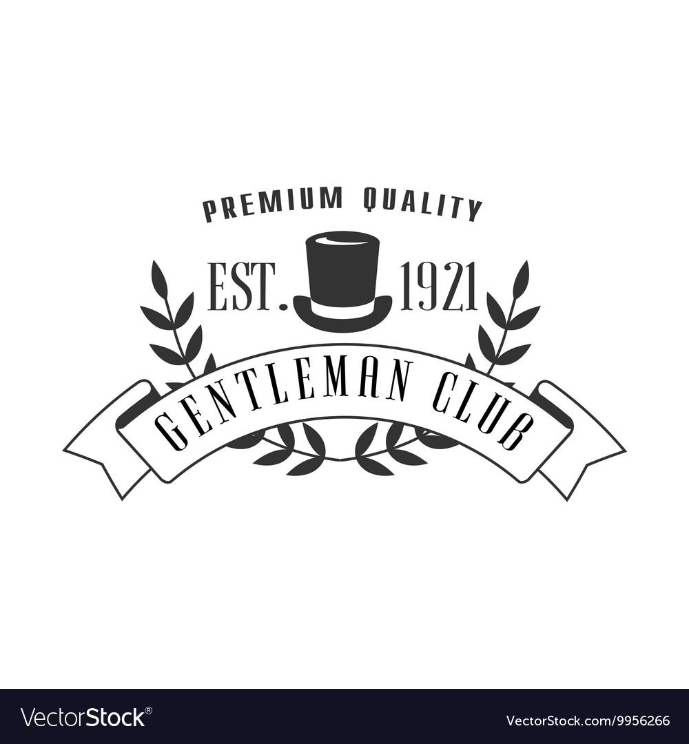Premium quality gemtleman club label design vector