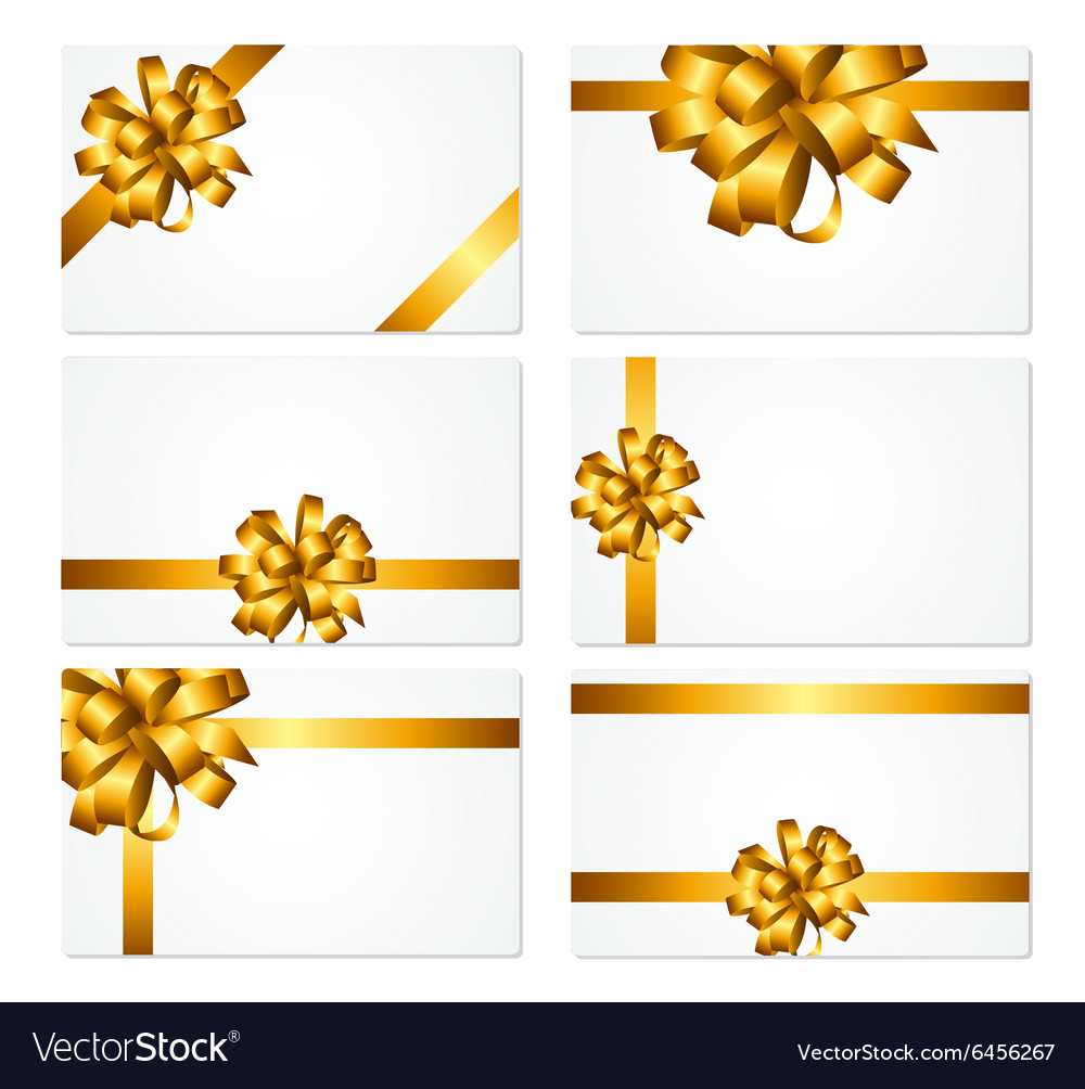 Gift card with gold bow and ribbon set vector