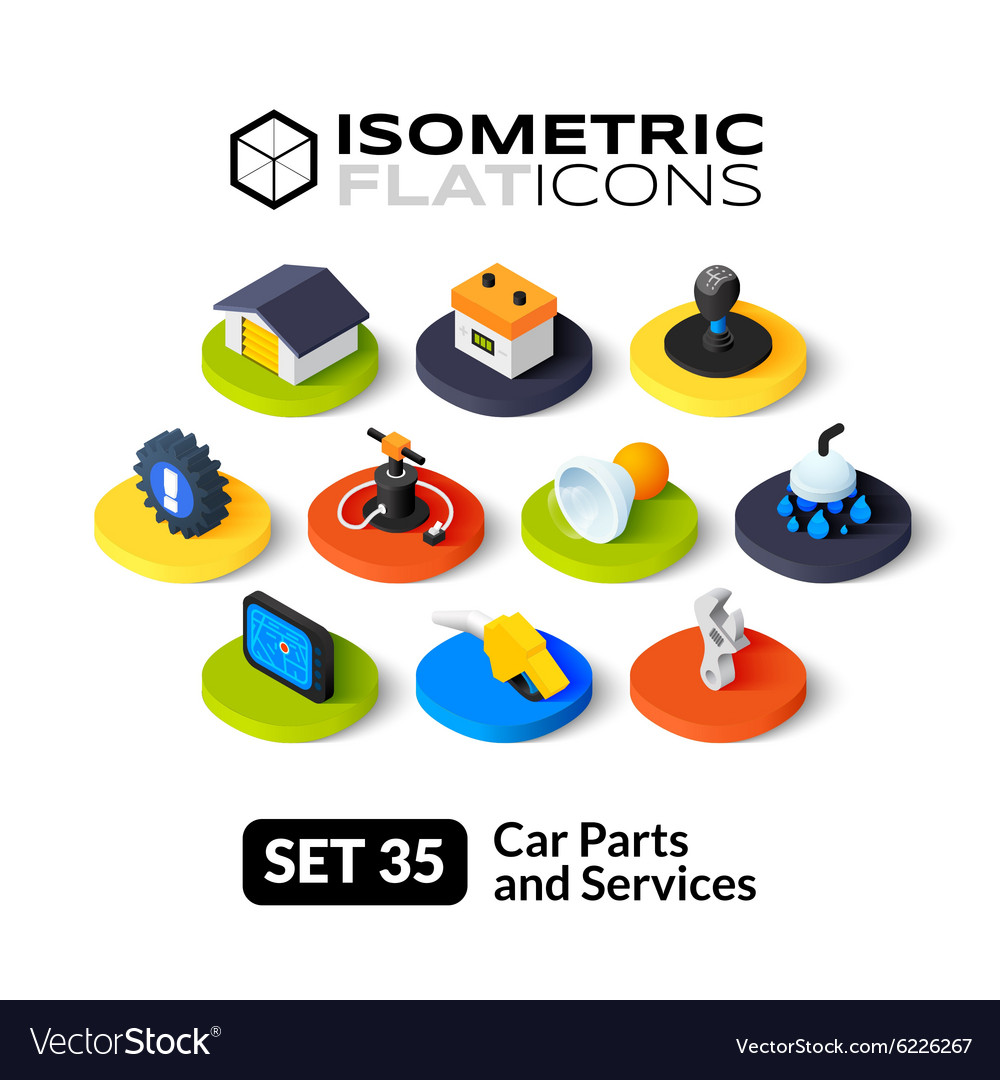 Isometric flat icons set 35 vector