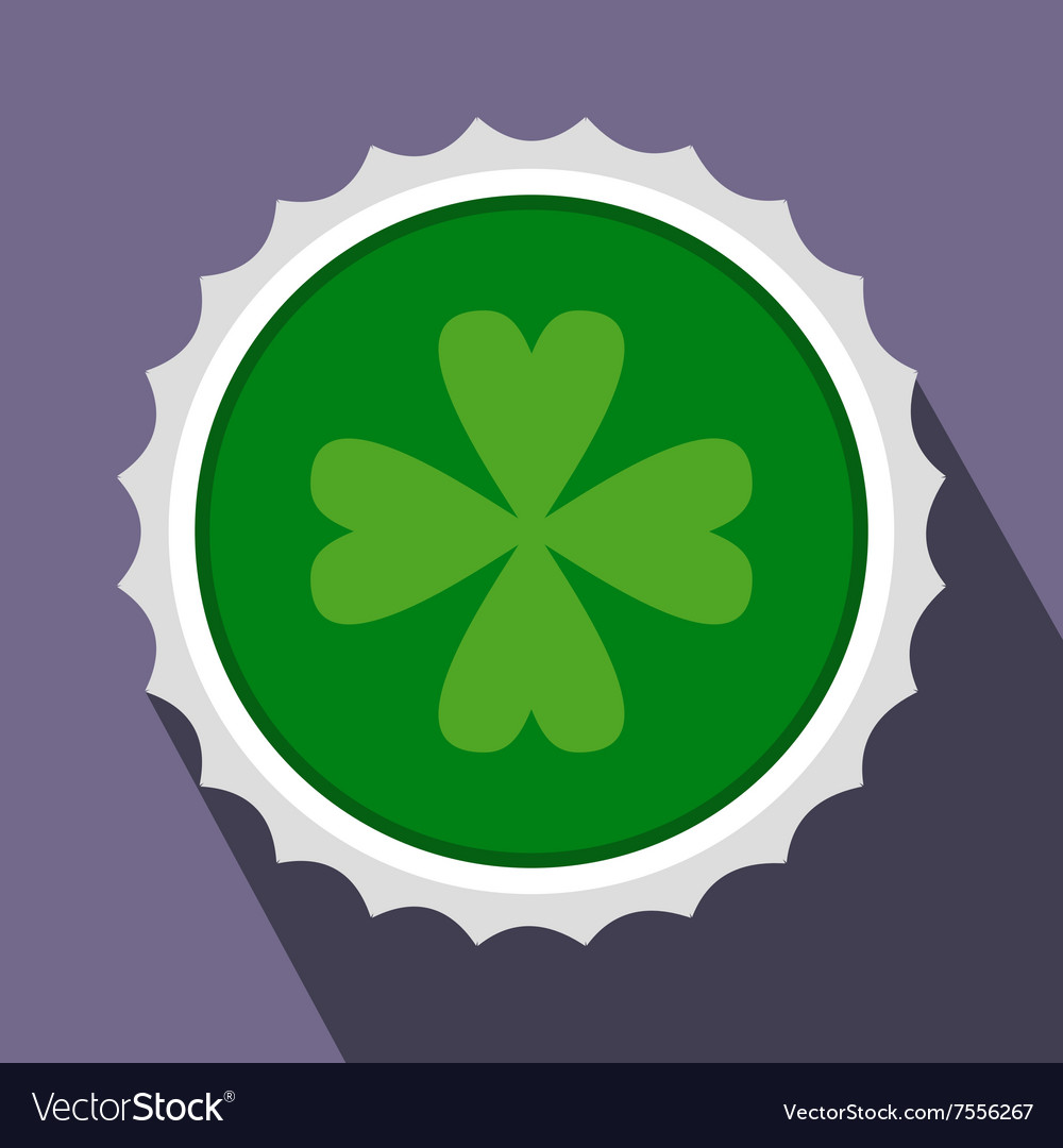 Rosette with four leaf clover flat icon vector