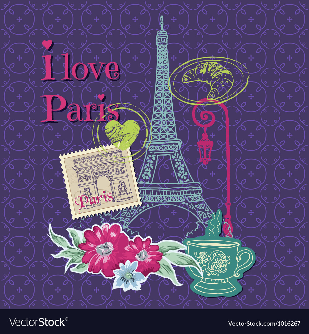 Scrapbook design elements  paris vintage card vector