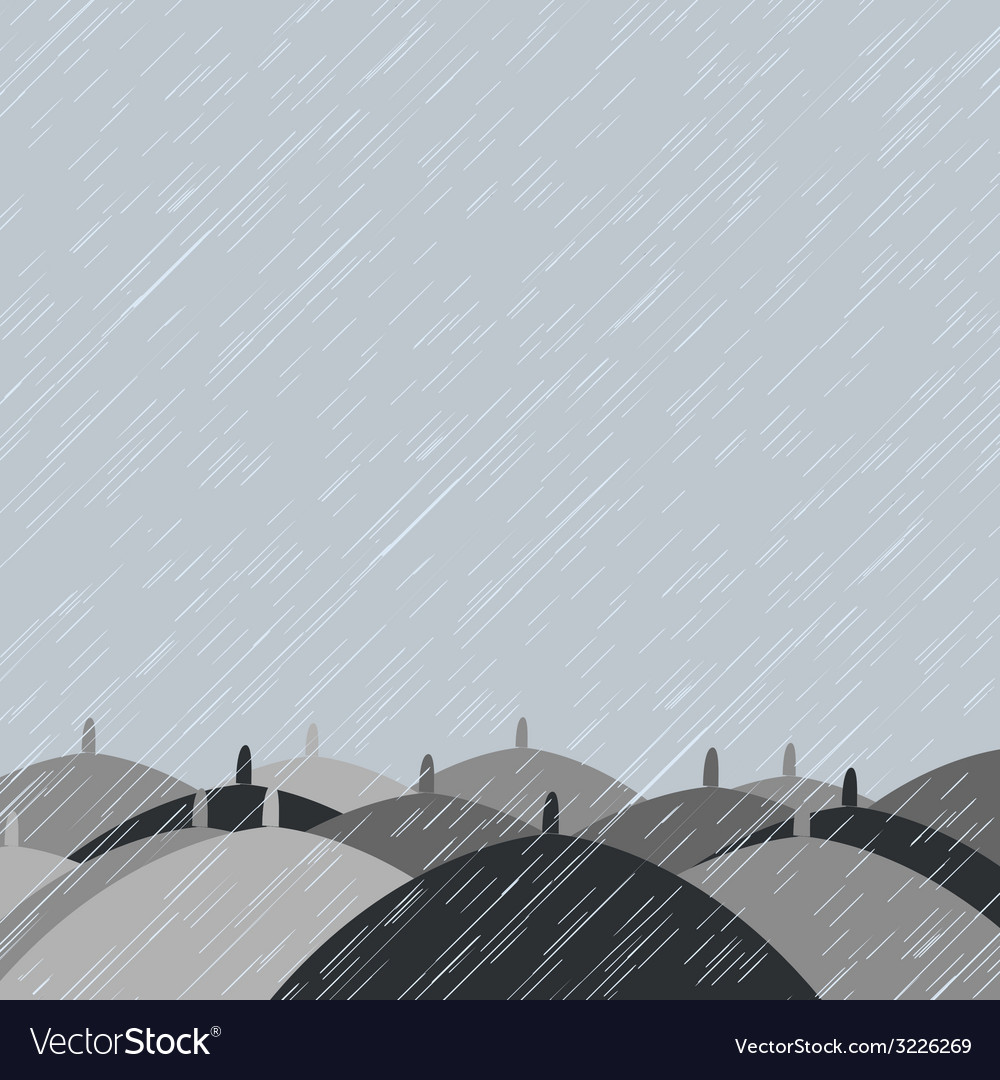Autumn background with rain and umbrellas vector