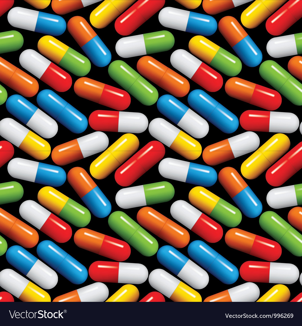 Medical pills seamless pattern vector