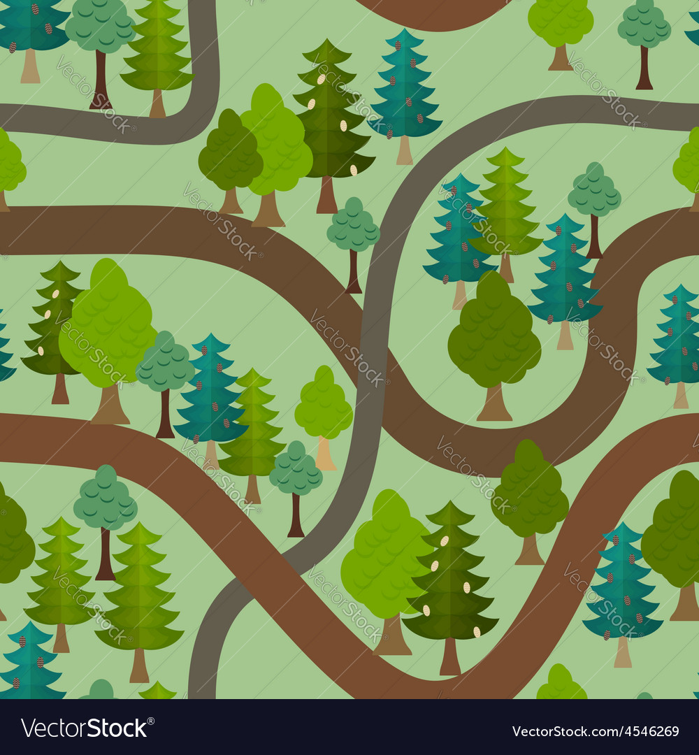 Seamless forest pattern cartoon trails and trees vector