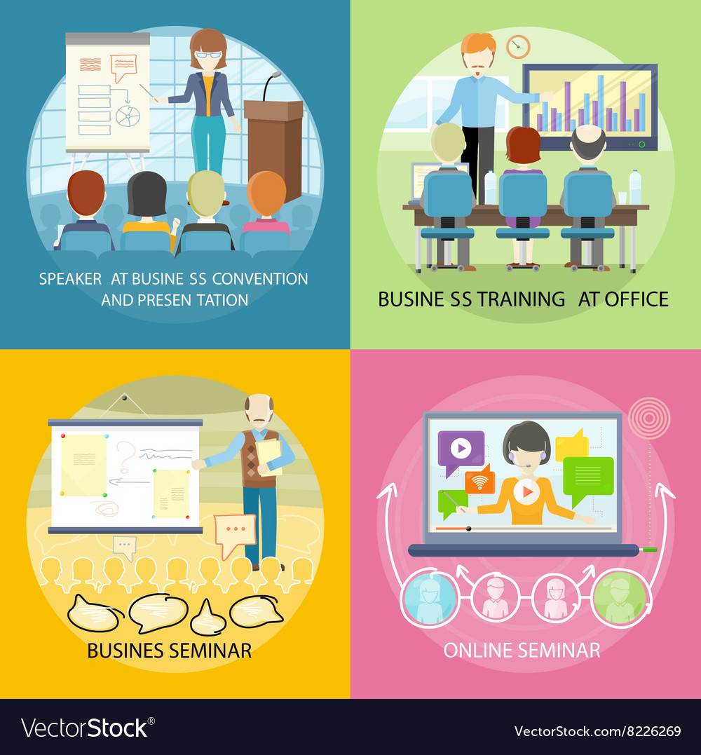 Set of banner seminar training business vector