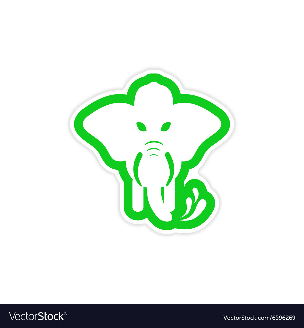 Stylish paper sticker on white background elephant vector